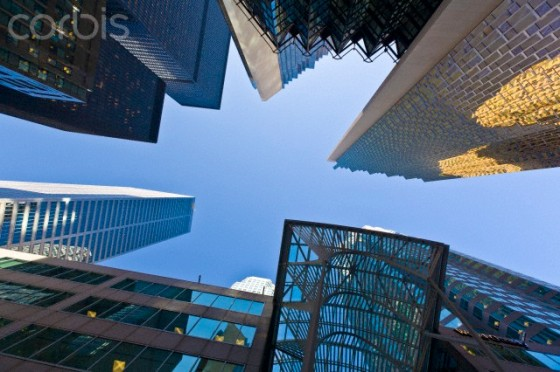 Low angle view of skyscrapers, Bay Street, Toronto, Ontario, Canada, North America