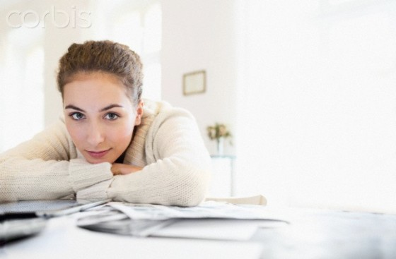 Young woman taking a break while working at home